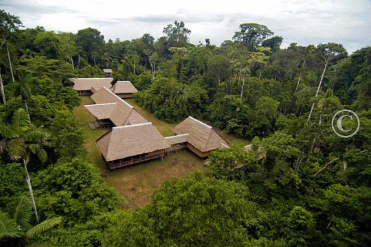 Tambopata Research Center from above, nestled in the rainforest